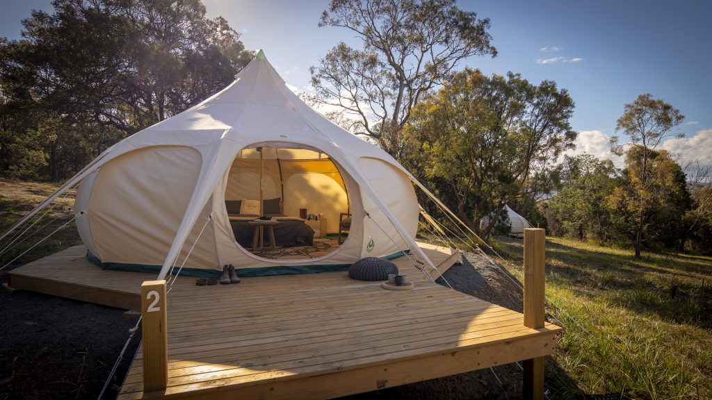 Lotus Belle tents at Spring Bay Mill<