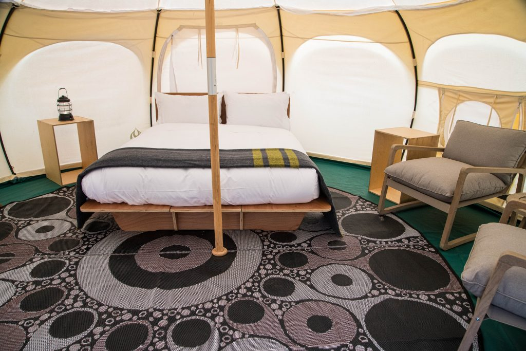 Cozy Lotus Belle tents at Spring Bay Mill.<