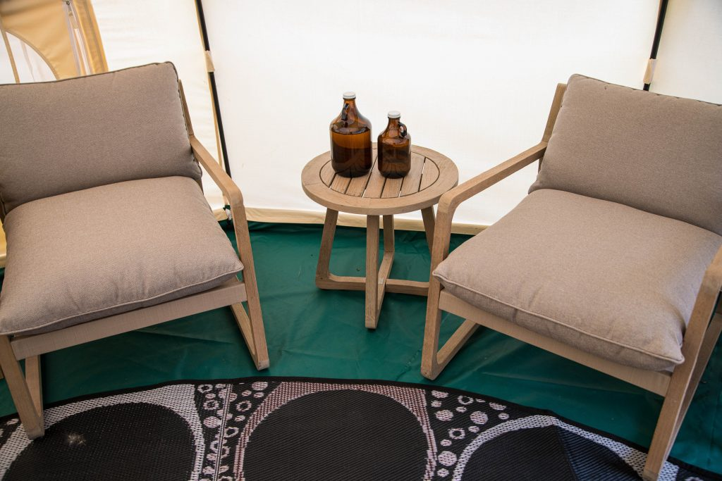 Our Lotus Belle tents have a cosy seating area to relax after any outdoor activity or adventure.<