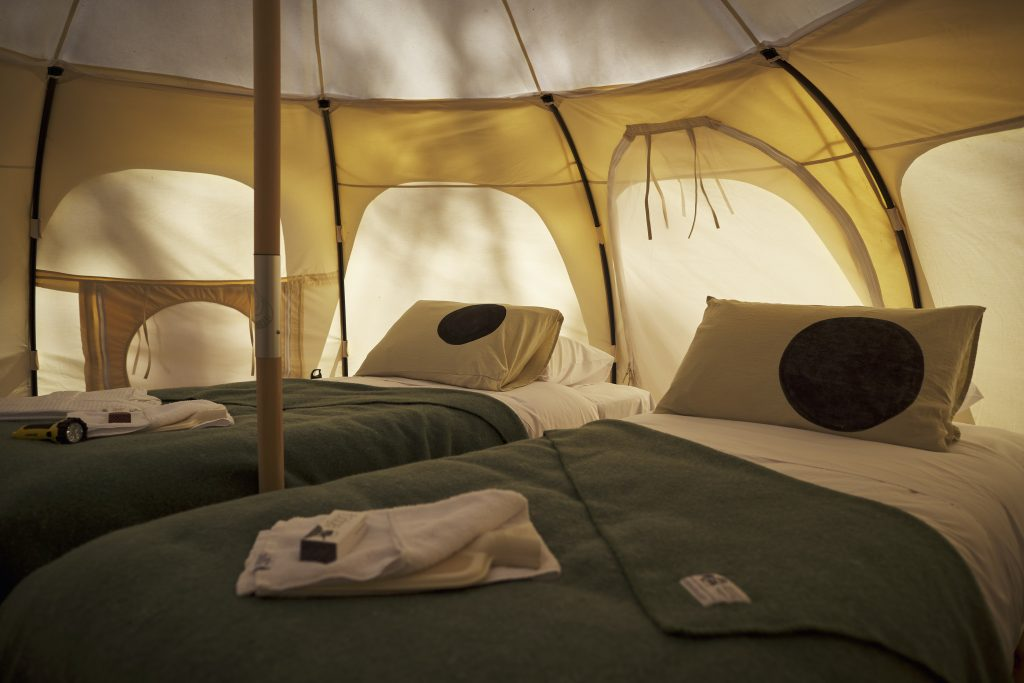 Inside our cosy Lotus Belle glamping tents